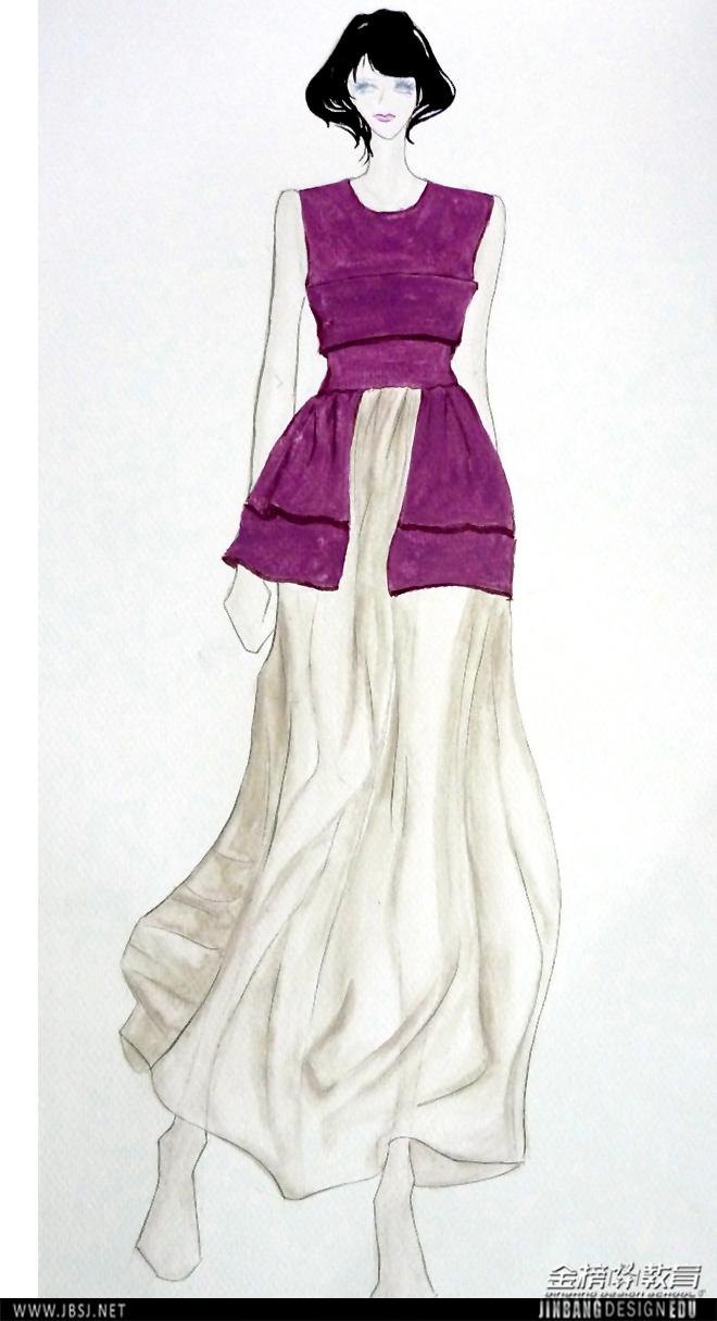 彩铅服装效果图 服装设计效果图彩铅 彩铅手绘效果图
